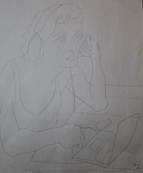My son trying not to be creeped out by my staring intently at him for half an hour (contour drawing).