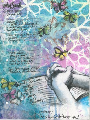 Journal #1: Notes from church. Spray inks, stencil, stamps, acrylic, pastel